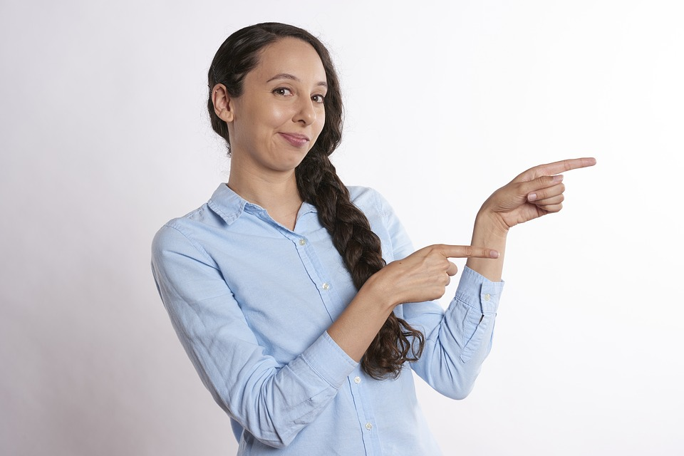woman pointing to the deal